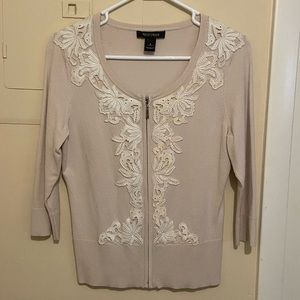 White House/Black Market Cream Cardigan W/ Zipper